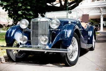 Classic Blue Car on Vintage Car