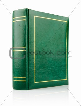 green book in the leather binding