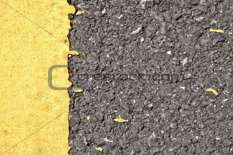 Asphalt texture with yellow border