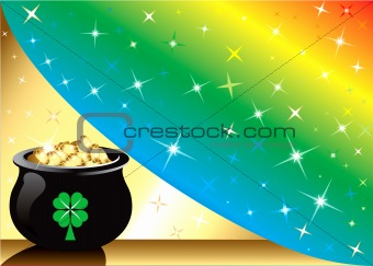 Pot Gold Rainbow Background