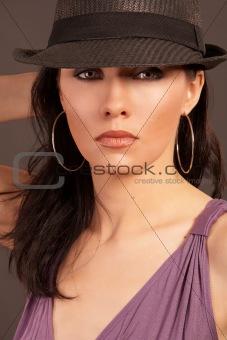 beautiful woman wearing hat