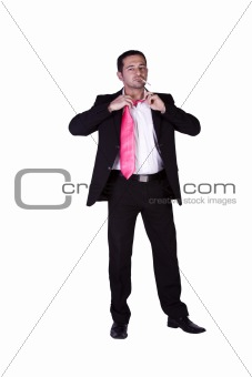 Businessman Loosens His Tie