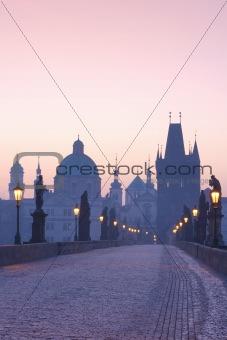 czech republic prague - charles bridge at dawn