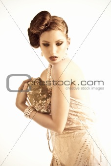Attractive Young Woman Wearing Pearls and Nightwear