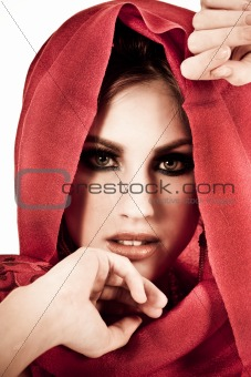 Attractive Young Woman Wearing a Red Shawl