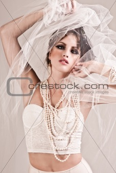 Attractive Young Woman Wearing a Veil