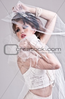 Attractive Young Woman Wearing Underwear and Veil