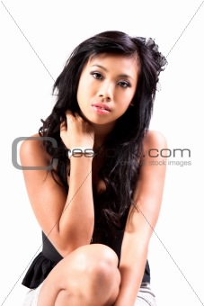 Attractive Young Woman Wearing Denim Skirt. Isolated