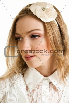 Attractive Young Woman With Hairdressing. Isolated