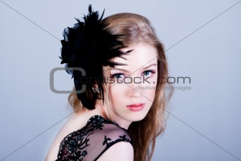 Attractive Young Woman Wearing Black