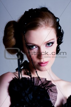 Attractive Young Woman in Black