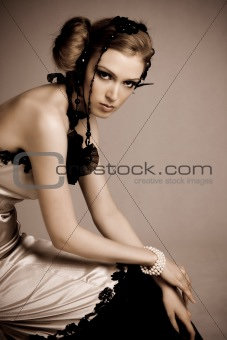 Attractive Young Woman Wearing Evening Gown
