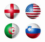 soccer world cup group C flags on soccer balls