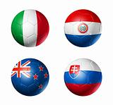 soccer world cup group F flags on soccer balls