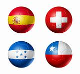 soccer world cup group H flags on soccer balls