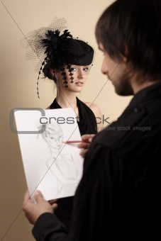 artist draws the woman