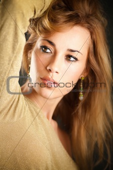 attractive woman touching hair