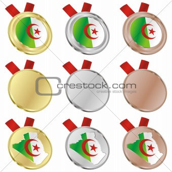 algeria vector flag in medal shapes