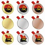 angola vector flag in medal shapes
