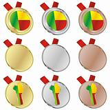 benin vector flag in medal shapes