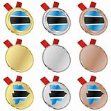 botswana vector flag in medal shapes