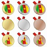 cameroon vector flag in medal shapes