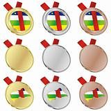central africa vector flag in medal shapes