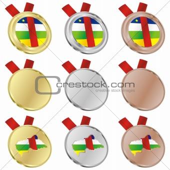central africa vector flag in medal shapes