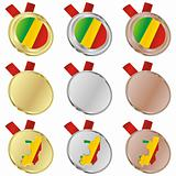 congo vector flag in medal shapes