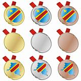 democratic congo vector flag in medal shapes