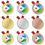 djibouti vector flag in medal shapes