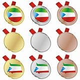 equatorial guinea vector flag in medal shapes