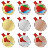 eritrea vector flag in medal shapes