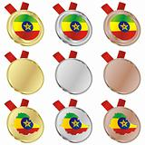ethiopia vector flag in medal shapes