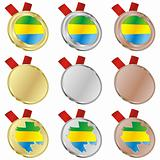 gabon vector flag in medal shapes