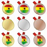 ghana vector flag in medal shapes