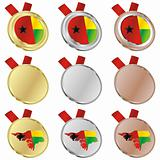 guinea bissau vector flag in medal shapes