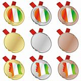 ivory coast vector flag in medal shapes
