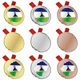 lesotho vector flag in medal shapes