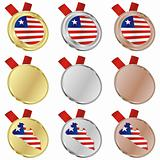 liberia vector flag in medal shapes