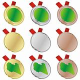 libya vector flag in medal shapes