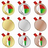 madagascar vector flag in medal shapes