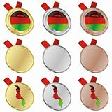 malawi vector flag in medal shapes