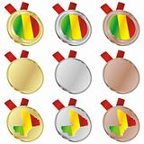 mali vector flag in medal shapes