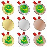 mauritania vector flag in medal shapes