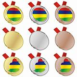 mauritius vector flag in medal shapes