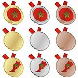 morocco vector flag in medal shapes