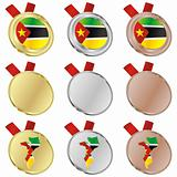 mozambique vector flag in medal shapes