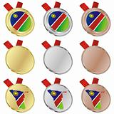namibia vector flag in medal shapes