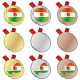 niger vector flag in medal shapes